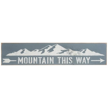 "Seven Anchor Designs 10x44"" Mountain This Way Arrow Wooden Sign"