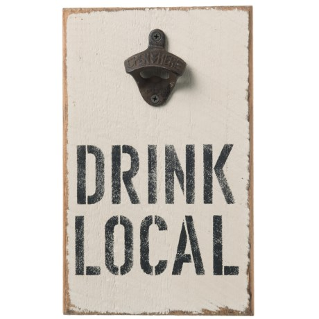 "Seven Anchor Designs ""Drink Local"" Sign with Bottle Opener - 12x7.5x1"""