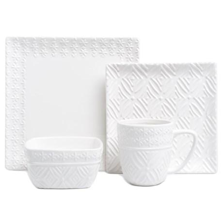 American Atelier Jasmin Textured Stoneware Dinnerware Set - 16-Piece