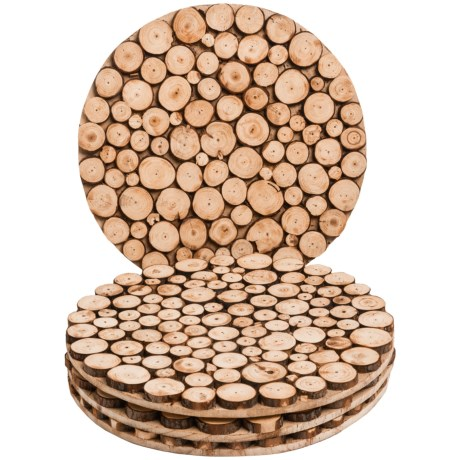 "Jay Imports 14"" Wooden Natural Round Chargers/Placemats - Set of 4"