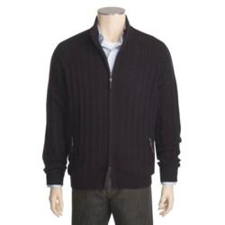 Kinross Cashmere Bias Rib Jacket - Zip Front, Mock Neck (For Men)