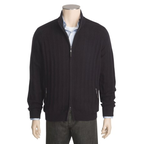 Kinross Cashmere Bias Rib Jacket - Zip Front, Mock Neck (For Men)