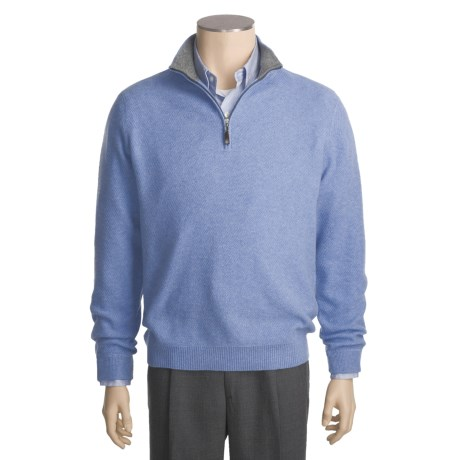 Kinross Cashmere Pique Sweater - Zip Mock Neck (For Men)
