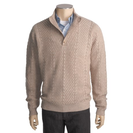 Kinross Cashmere Plaited Herringbone Sweater - Button Mock Neck (For Men)