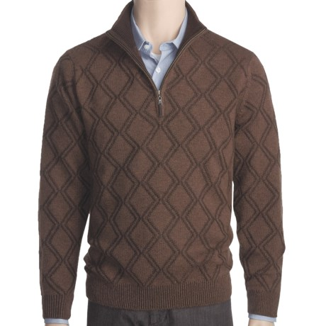 Plaited Diamond Cashmere Sweater - Zip Mock Neck (For Men)