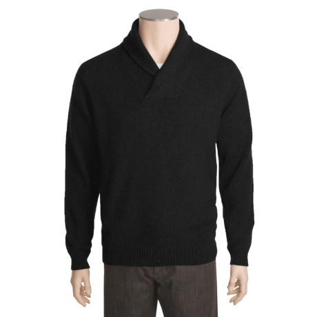 Kinross Cashmere Pullover Sweater - Elbow Patches, Shawl Collar (For Men)