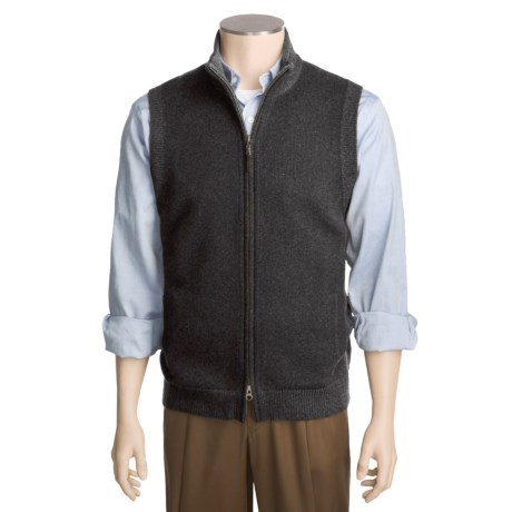 Kinross Cashmere Plaited Vest - Zip Front (For Men)