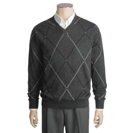 Kinross Cashmere Double-Raker Sweater - V-Neck (For Men)