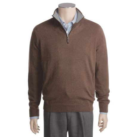 Kinross Cashmere Mock Neck Sweater - Suede Piping (For Men)