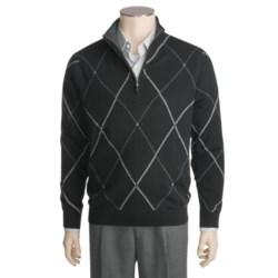 Kinross Cashmere Double Raker Mock Neck Sweater - Zip Neck (For Men)