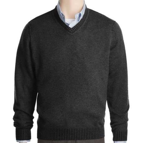 Kinross Plaited Jersey Sweater - Cashmere, V-Neck (For Men)