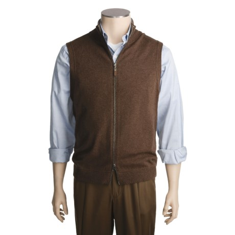 Kinross Cashmere Top-Stitch Vest - Zip Front (For Men)