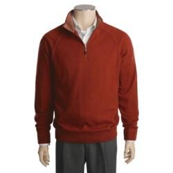 Kinross Cashmere Top-Stitch Sweater - Mock Zip Neck, Raglan Sleeve (For Men)