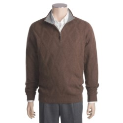 Kinross Cashmere Diamond Texture Sweater - Zip Neck (For Men)