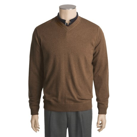 Kinross Top-Stitch Sweater - Cashmere, V-Neck (For Men)