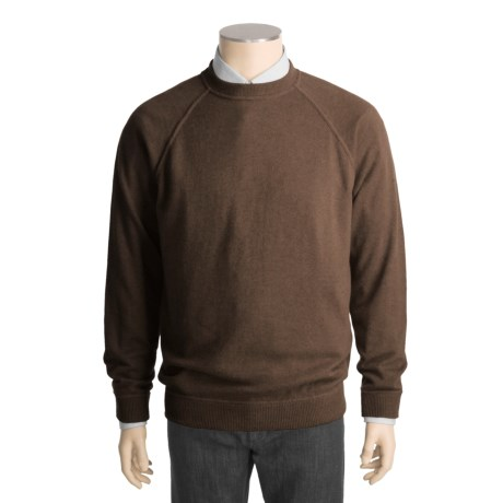Kinross Cashmere Top-Stitch Sweater - Raglan Sleeves (For Men)