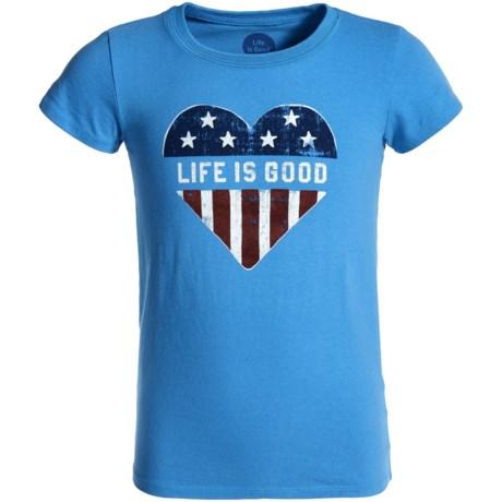 Life is good® Heart Flag Crusher T-Shirt - Short Sleeve (For Girls)