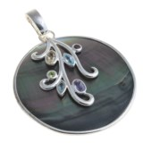 Silver Express Round Pendant - Shell and Gemstone