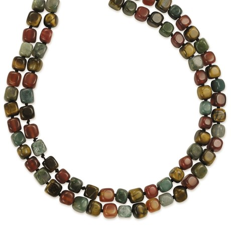 Silver Express Knotted Necklace - Tiger's Eye-Agate