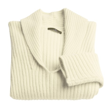 Cullen Wool-Cashmere Rib Sweater - V-Neck (For Women)