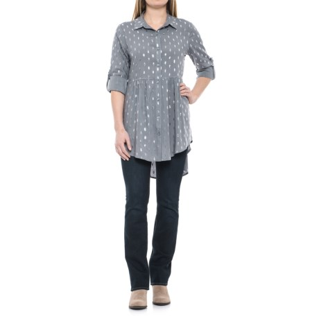 Solitaire Foil Tunic Shirt - Long Sleeve (For Women)