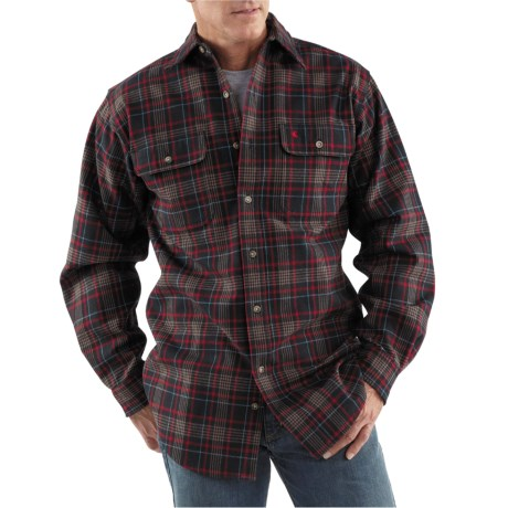 Great heavy duty work shirt jacket review of carhartt for Heavy plaid flannel shirt