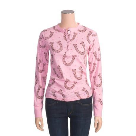 Panhandle Slim Horseshoes Print Henley Shirt - Cotton Jersey, Long Sleeve (For Women)