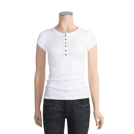 Panhandle Slim Baby Rib-Knit Henley Shirt - Stretch Cotton, Short Sleeve (For Women)