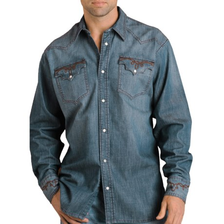 Panhandle Brooks & Dunn by  Slim Denim Shirt - Embroidered, Long Sleeve (For Men)