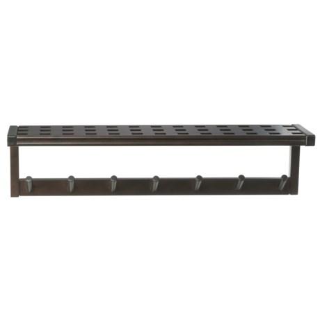 New Ridge Large Peg Rack with Shelf - Solid Hardwood