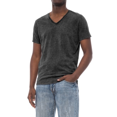 Specially made Solid Garment-Washed T-Shirt - V-Neck, Short Sleeve (For Men)