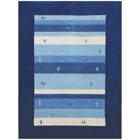 Amer Nomadic Collection Navy Blue Scatter Accent Rug - 3x5', Wool-Cotton