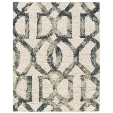 Amer Shibori Collection White and Gray Scatter Accent Rug - 2x3', Wool-Cotton