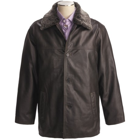 Weatherproof Vintage Buffalo Leather Car Coat - Detachable Shearling Collar (For Men)
