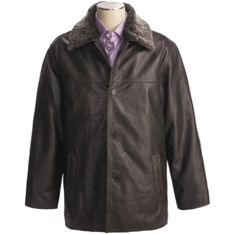 Weatherproof Vintage Buffalo Leather Car Coat - Detachable Shearling Collar (For Men)