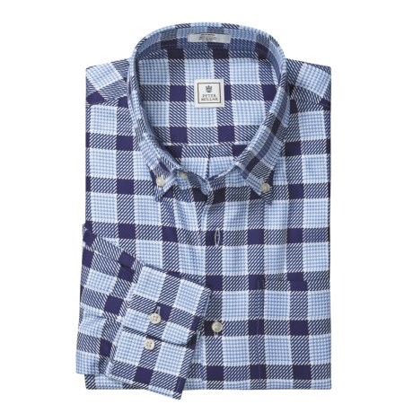 Peter Millar Cotton Plaid Shirt - Heavy Pane, Long Sleeve (For Men)