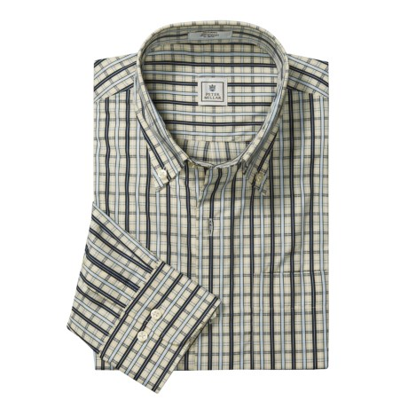Peter Millar Cotton Plaid Shirt - Satin Pane, Long Sleeve (For Men)