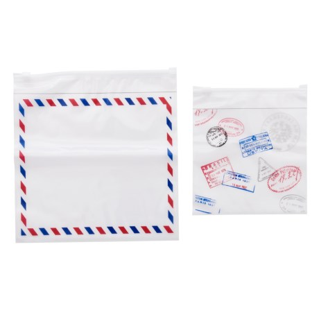 Miamica Red Stamp Print Resealable Bags - 6 Small, 6 Large