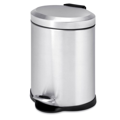 Honey Can Do Oval Step Trash Can - 5L, Stainless Steel