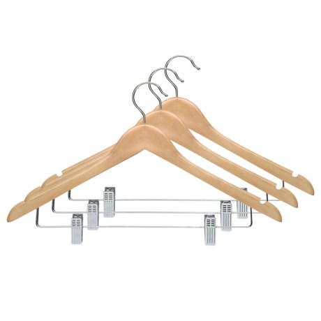 Honey Can Do Basic Wood Suit Hanger with Clips - 3-Pack