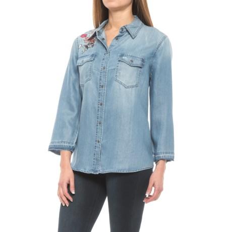 NYDJ Embroidered Denim Shirt - 3/4 Sleeve (For Women)