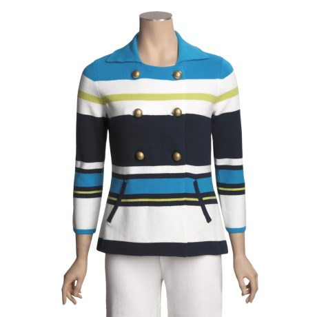 Joan Vass Striped Peacoat Sweater - Double Breasted (For Women)
