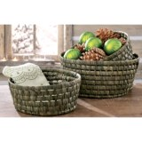 Tag Woven Maize Round Baskets - Set of 3