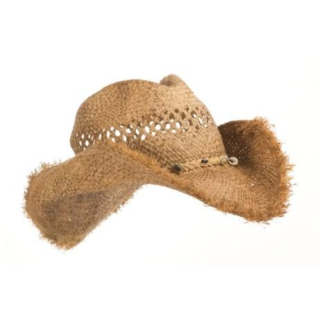 Cov Ver Raffia Straw Hat Shapeable Frayed Brim For Men