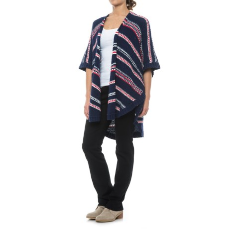 NYDJ Striped Cocoon Cardigan Sweater - Short Sleeve (For Women)