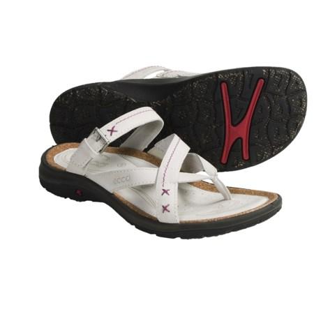 ECCO Coast Cross-Strap Thong Sandals - Nubuck (For Women)