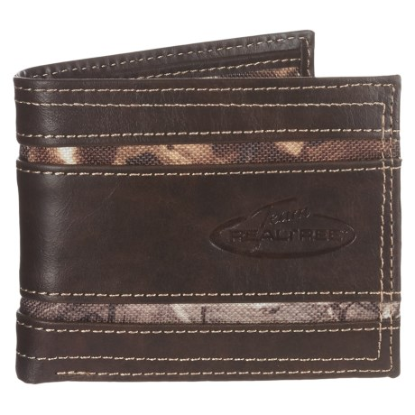 Realtree Bi-Fold Flip-Card Wallet - Leather and Canvas (For Men)