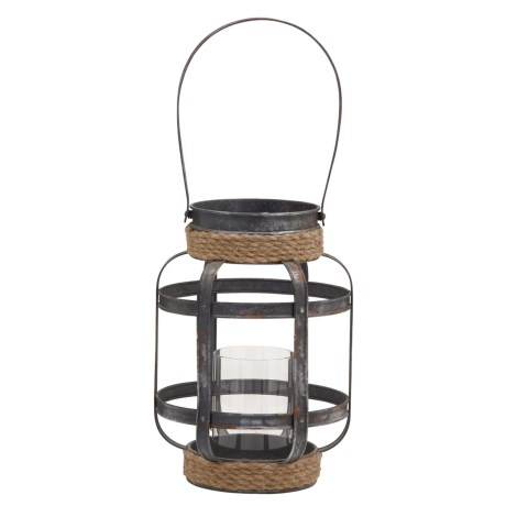 "UMA Metal-and-Glass Candle Lantern - 9x13"""