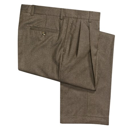 Barry Bricken Wool Herringbone Pants - Double-Reverse Pleats (For Men)