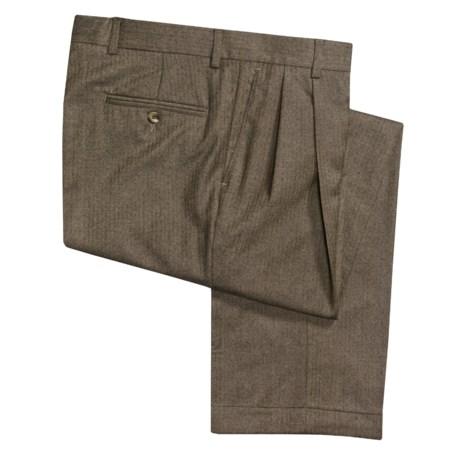 Barry Bricken Wool Herringbone Pants - Double-Reverse Pleats (For Men)